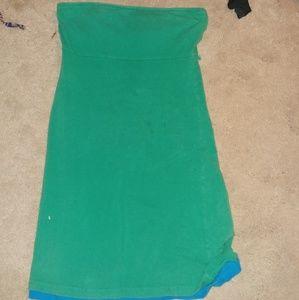 2000ss Strapless green dress.